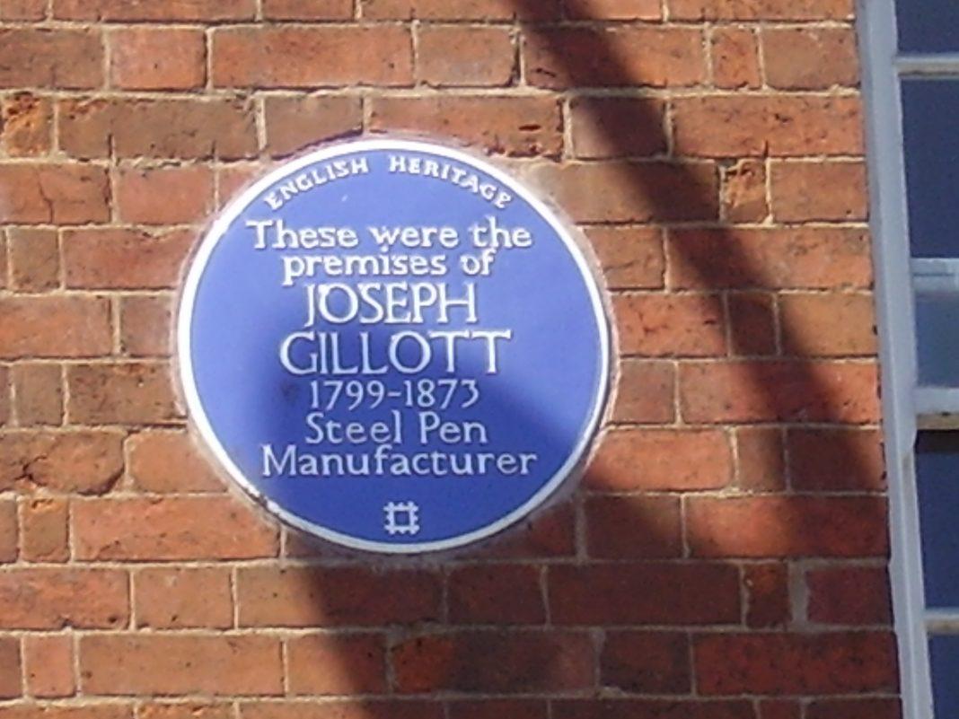 Joseph Gillott Blue Plaque the birmingham jewellery quarter