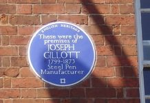 Joseph Gillott Blue Plaque the birmingham jewellery quarter
