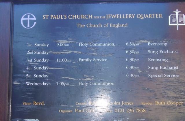 St Paul's Church Notice Board Grade 1 listed Built 1779  Jewellery Quarter Birmingham Photo 2008 Joseph Burke