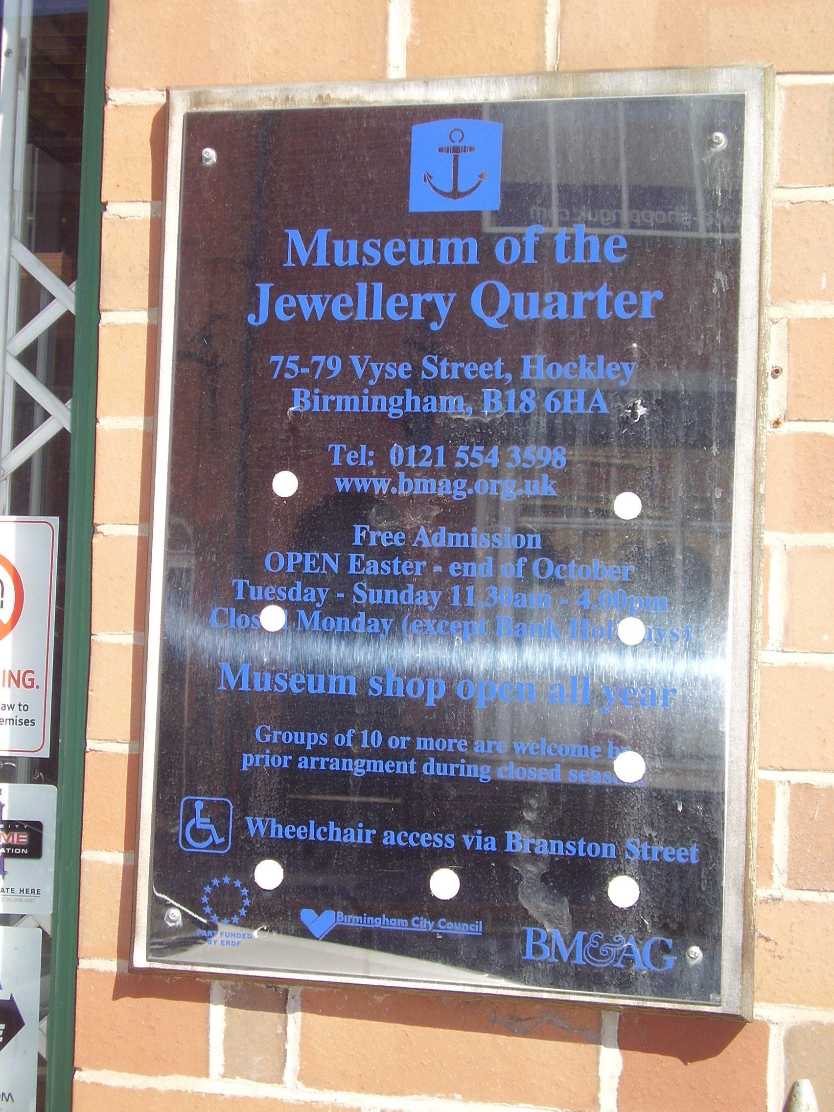 useum of the Jewellery Quarter Silver plaque 75-80 Vyse St, Birmingham B18 6HA, UK 2008
