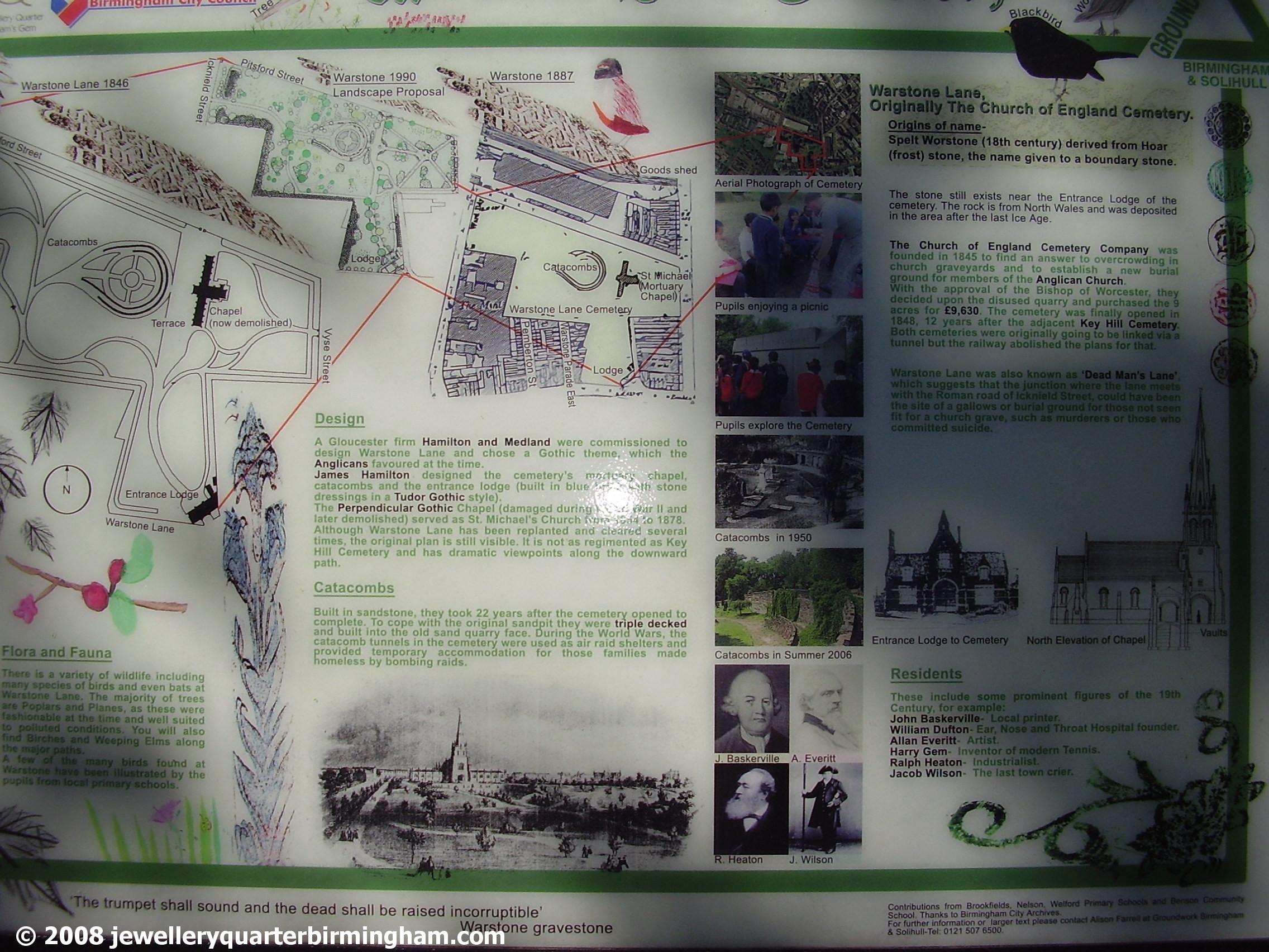 Mint Cemetery Jewellery Quarter Information Board 2008